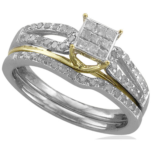 Forever Bride 1/2 Carat T.W. Diamond Sterling Silver with 10kt Yellow Gold Accent Bridal Set