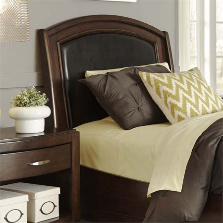 Liberty Furniture Avalon Twin Faux Leather Panel Headboard in Truffle