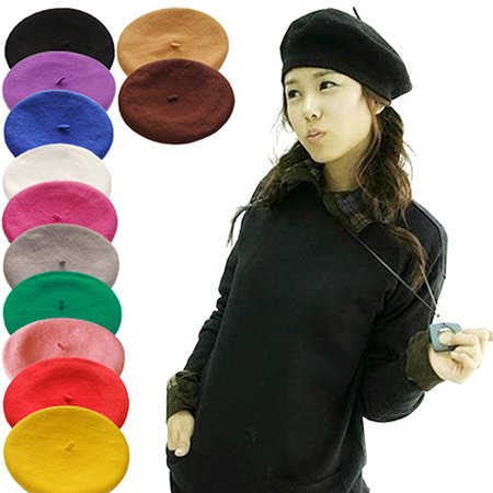 HiCoup Women Girl Solid Color Warm Winter Beret French Artist Beanie Hat Ski Cap (Girls Pink Cowgirl Hat)