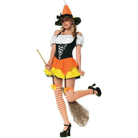 Sassy Kandy Korn Witch 3 Piece Women's Adult Halloween Costume - Three Halloween Symbols