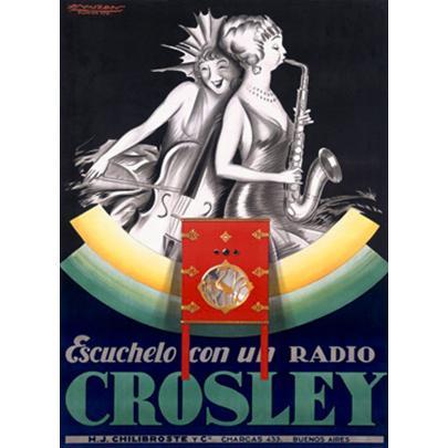 "ArteHouse Fine Art Print ""Crosley Jazz Tube Radio Advertisement"", Archival Paper, 24"" x 36"""