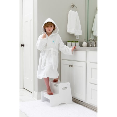 Linum Home Sweet Kids Turkish Cotton Terry White with Aqua Blue Script Monogram Hooded Bathrobe - Kids Bathrobe