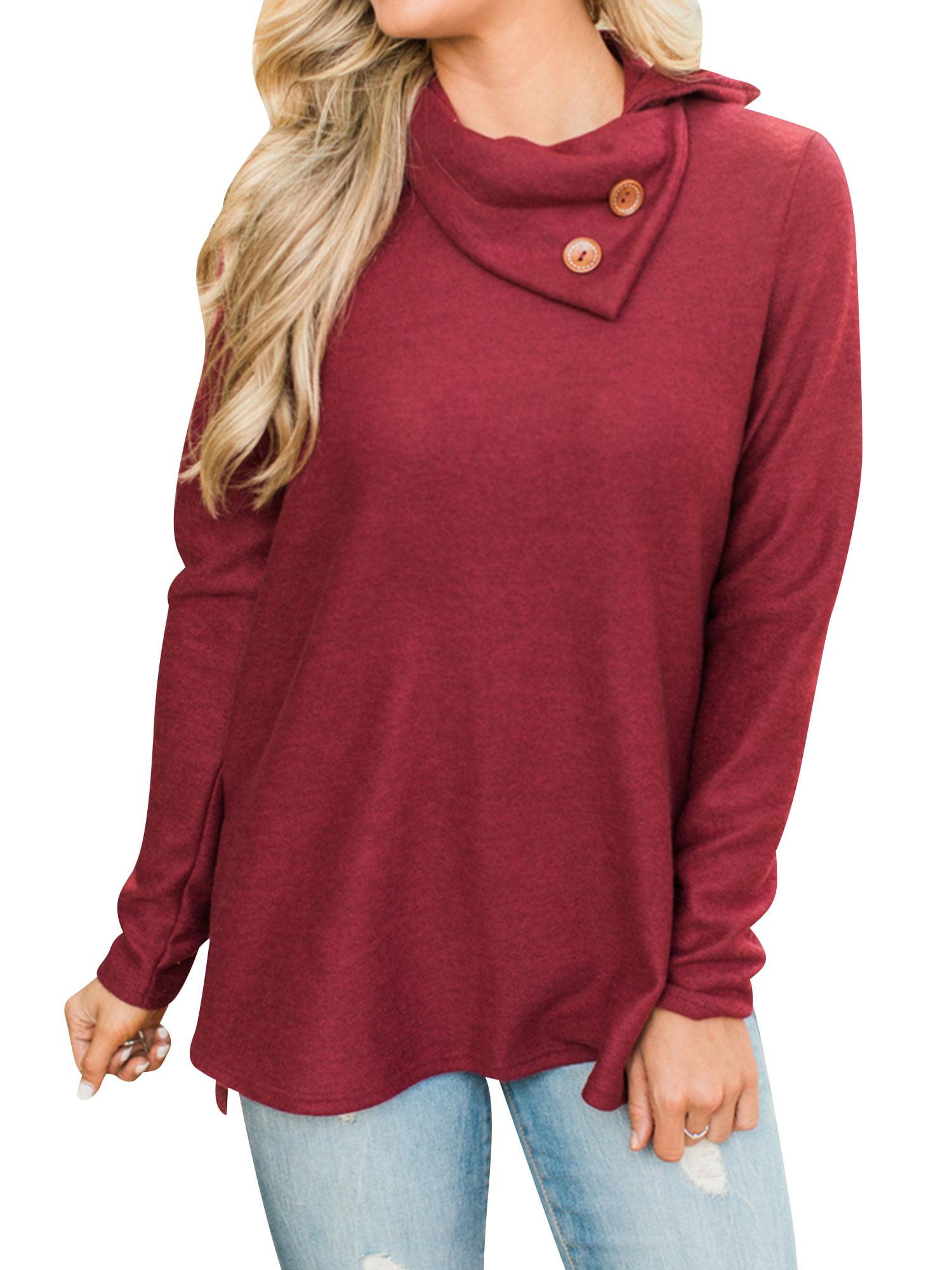 e0312f79227 Starvnc Women Long Sleeve Button Cowl Neck Asymmetrical Hem Side ...