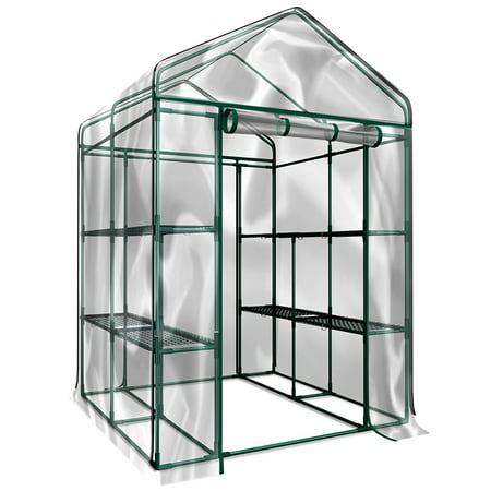 Walk-In Greenhouse- Indoor Outdoor with 8 Sturdy Shelves-Grow Plants, Seedlings, Herbs, or Flowers In Any Season-Gardening Rack by