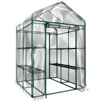 "Home-Complete - 56.3"" x 56.3"" x 76.7"" - 2-Tier 8 Shelves - Indoor Outdoor Walk-In Greenhouse"