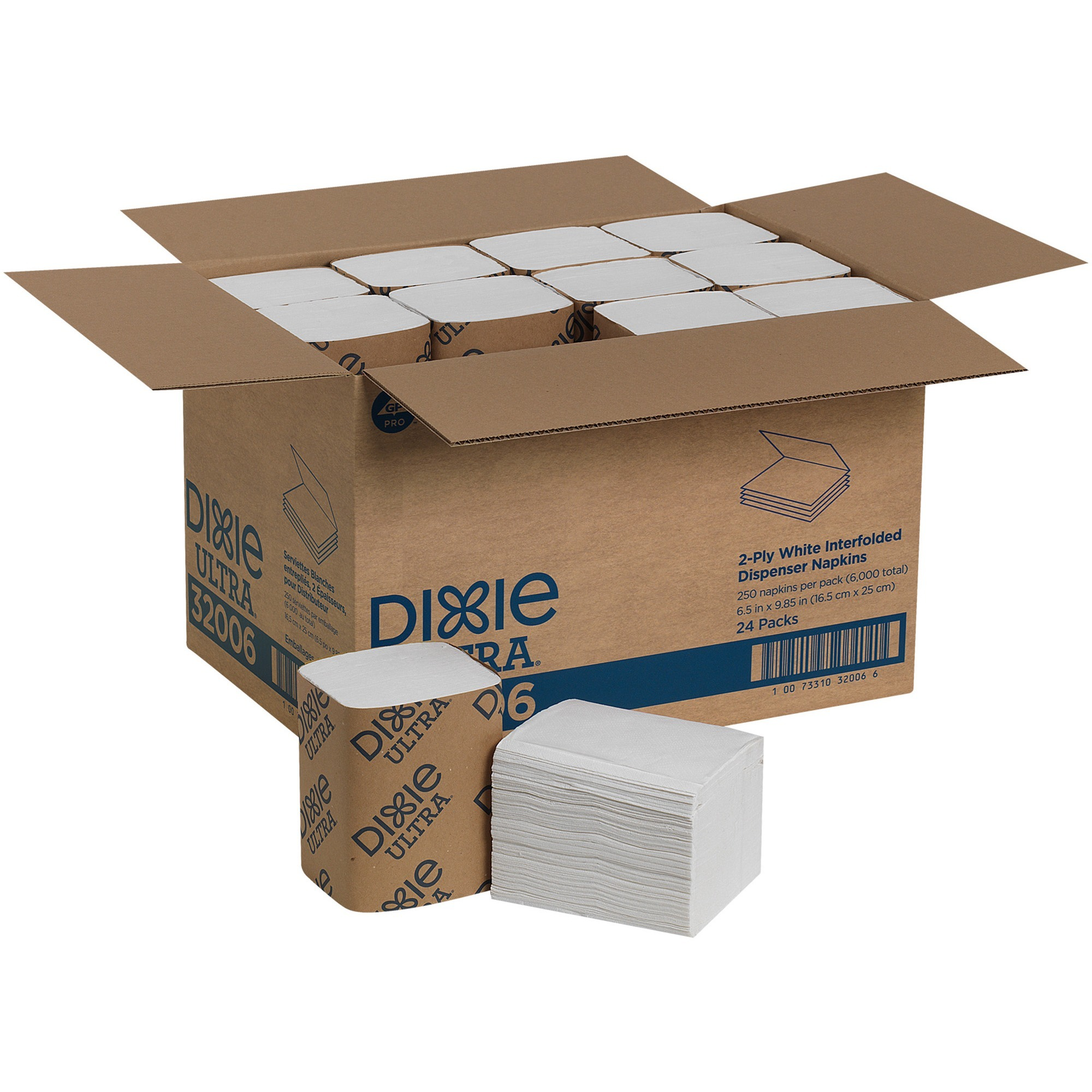 Dixie Ultra&reg, GPC32006, Interfold Napkin Dispenser Refill, 6000 / Carton, White