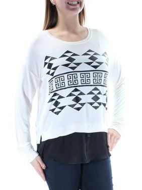 kensie white long-sleeve aztec print sweatshirt l