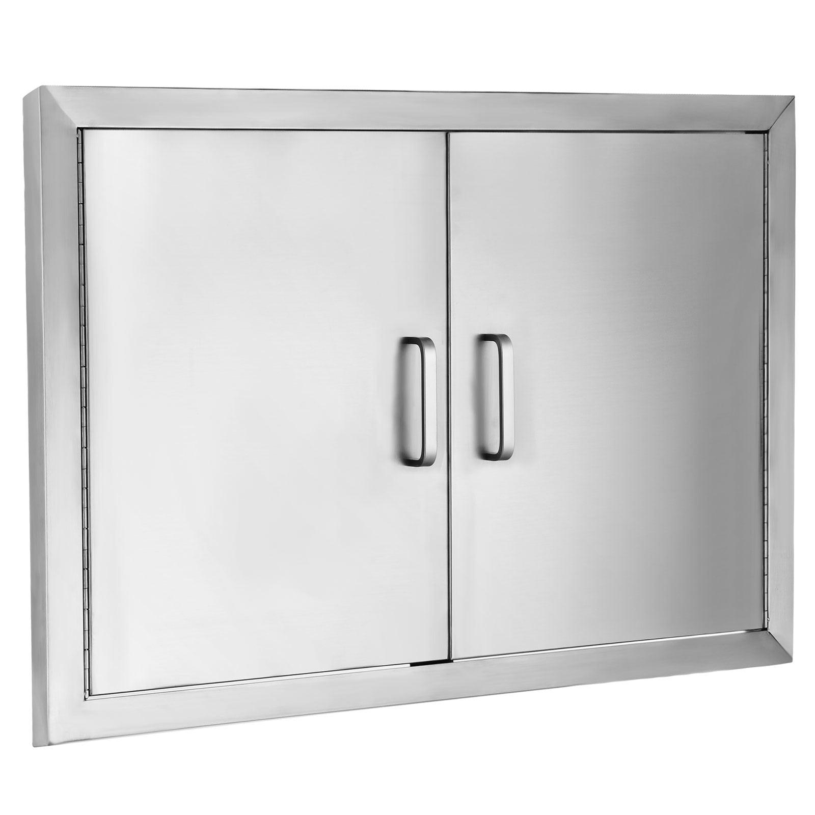 """VEVOR BBQ Door 304 Commercial Grade Stainless Steel Doors 31""""x24"""" Double Access Door Vertical Rust Resistant Stainless Doors Outdoor Kitchen Durable with Handle"""