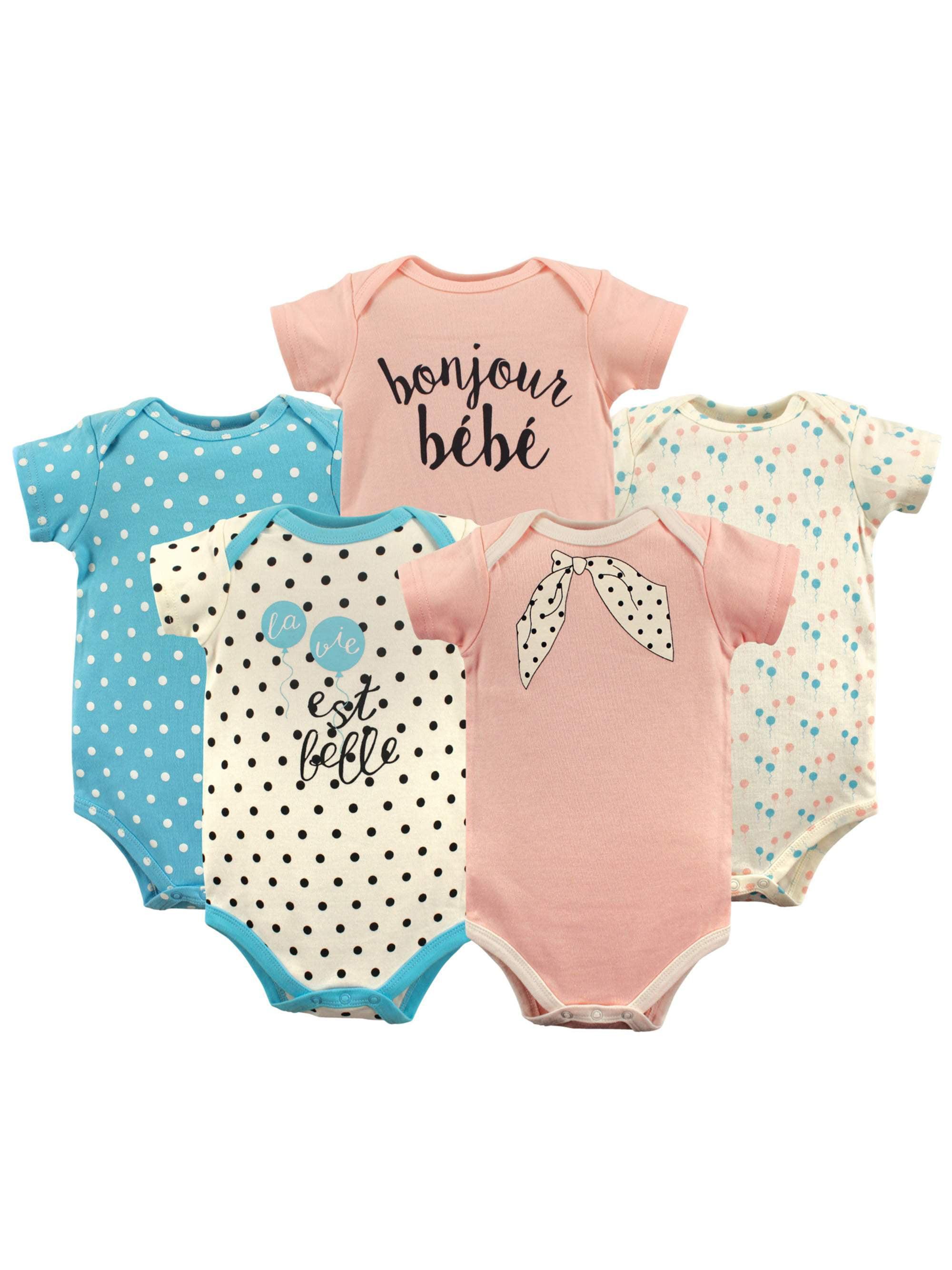 Basics Baby Girl Bodysuits, 5-pack