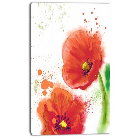 Bloomy Red Tulips Watercolor - Flowers Canvas Wall Artwork - image 2 de 4