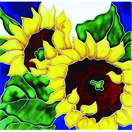 En Vogue B-34 Sunflowers - Decorative Ceramic Art Tile - 8 in. x 8 (Sunflower Ceramic Tile)