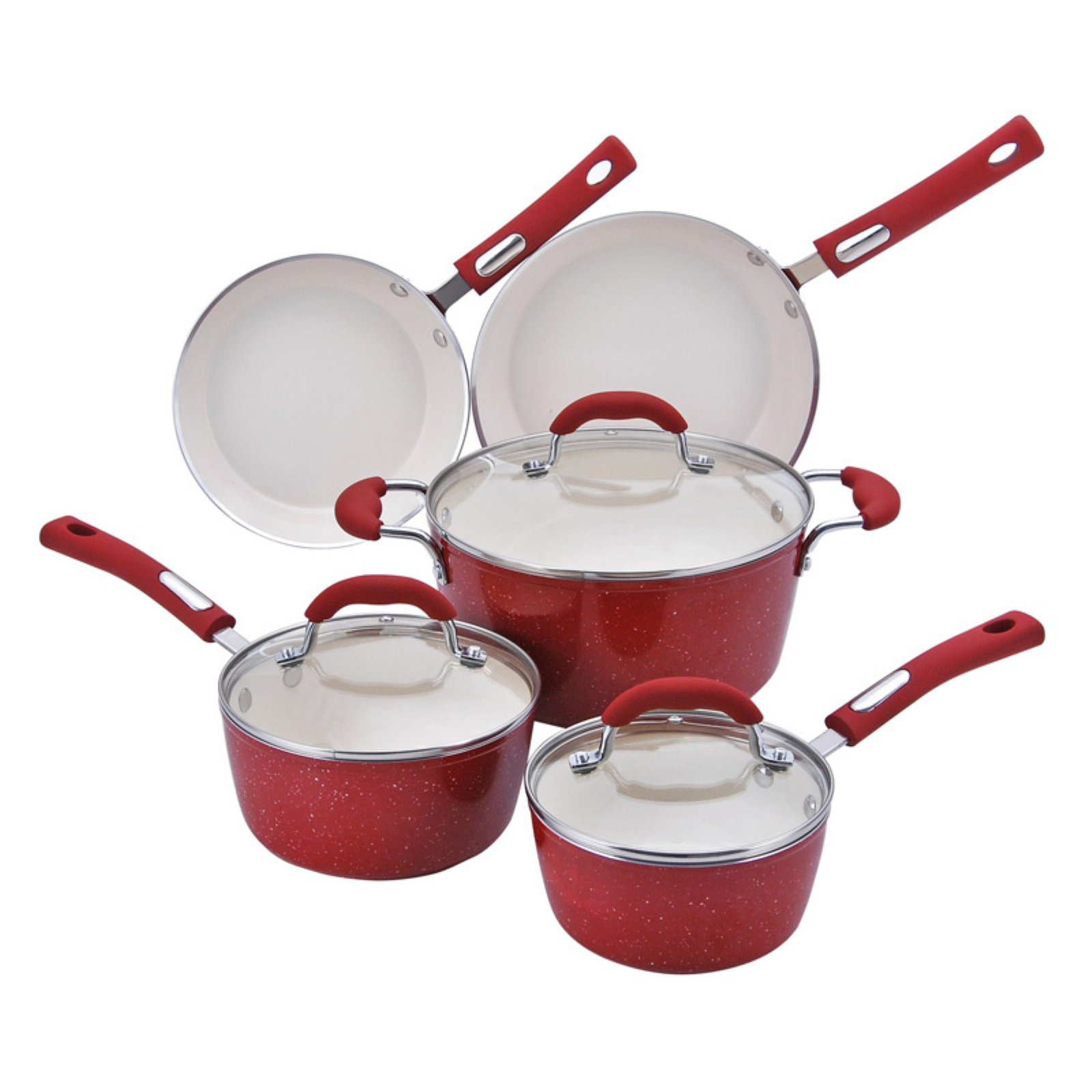 Hamilton Beach 8pc Aluminum Cookware Set, 3.0mm Forged, Red Speckled Procelain Enamel, Cream Ceramic Non-Stick