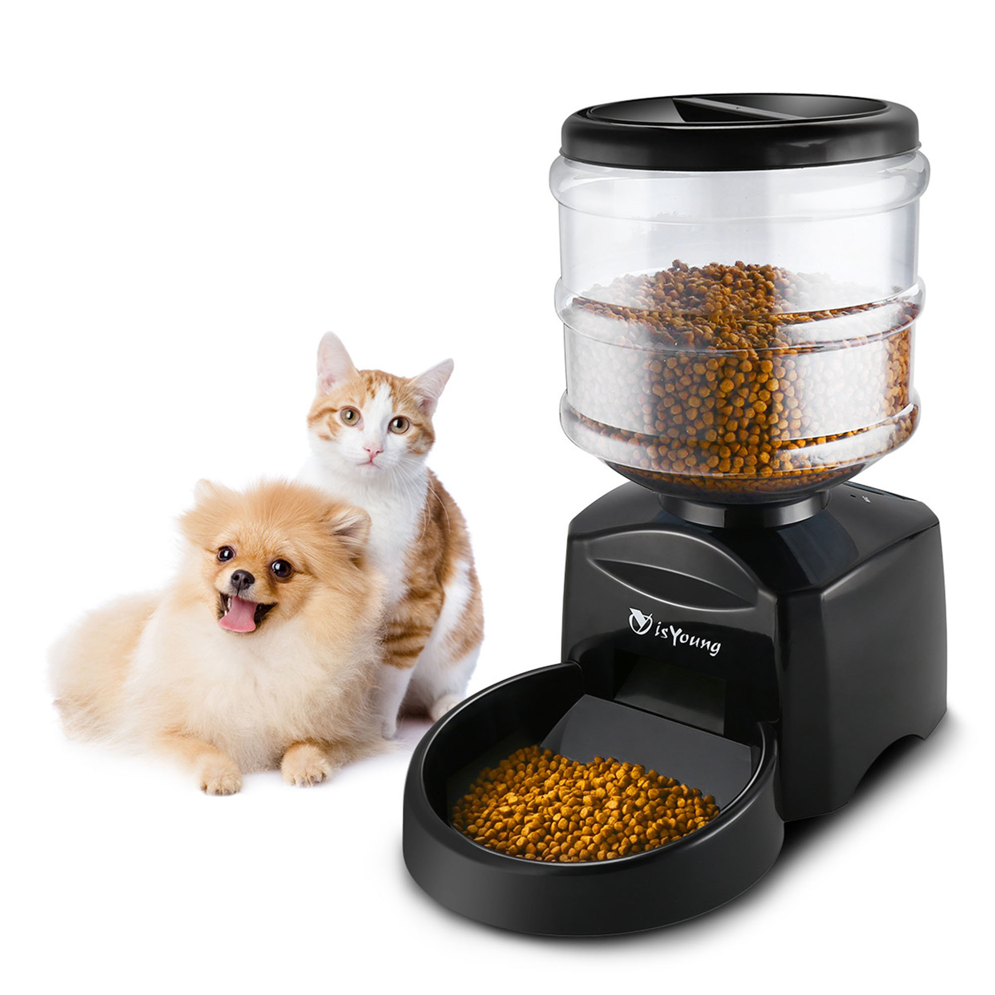 isYoung 5.5L Pet Feeder Automatic Dog Feeder Electronic Control Feeder with Big LCD Screen and Voice Record Cat Feeder For Cats and Dogs