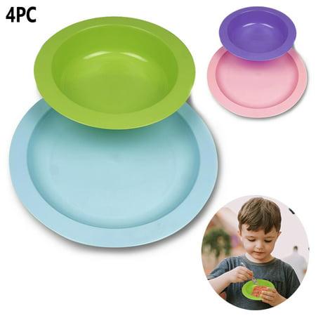 - 4 PC Kids Toddler Dinnerware Set Plate Bowl Dishwasher & Microwave Safe BPA Free