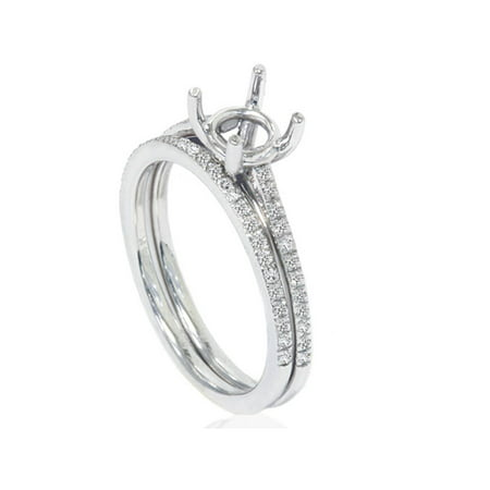 1/5ct Pave Cathedral Diamond Engagement Ring Setting 14K White Gold