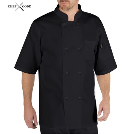 Coat Black Short Sleeve Buttons - Chef Code Basic Short Sleeve Chef Coat with Pearl Buttons, Chef Jacket CC124