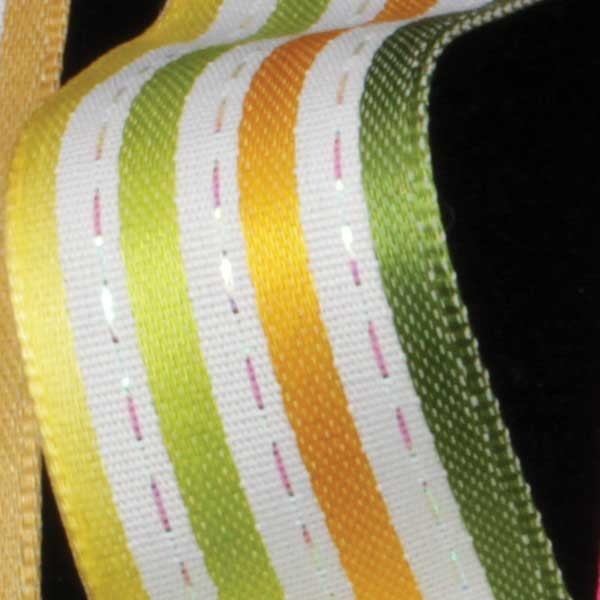 "Stripes and Dashes Yellow/Green Thin Striped Wired Craft Ribbon 7/8"" x 54 Yards"