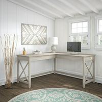 Bush Furniture Key West 60W L Shaped Desk, Washed Gray