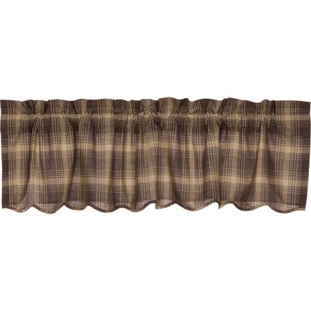 Woodland Brown Rustic & Lodge Kitchen Curtains Brickston Rod Pocket Cotton Hanging Loops Plaid 16x60 Valance