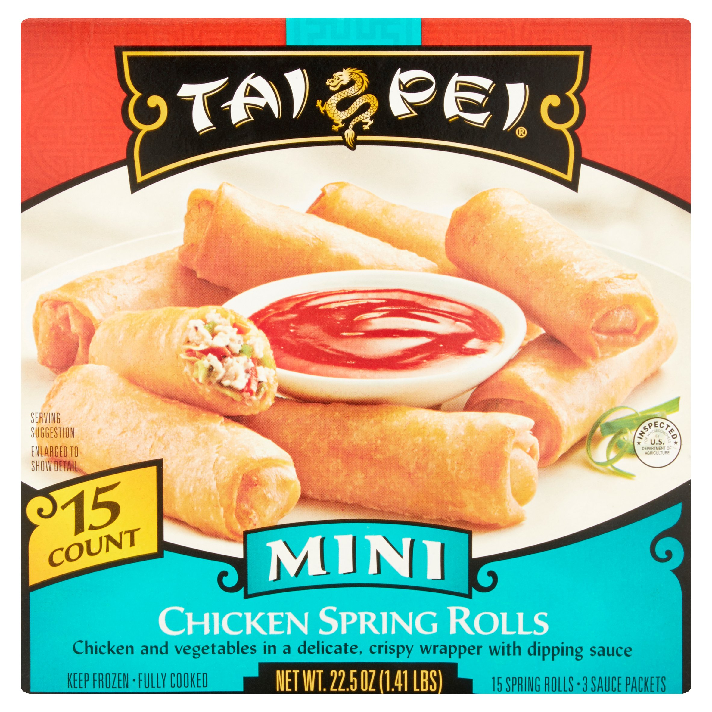 Tai Pei Mini Chicken Spring Rolls with 3 Sauce Packets, 15 count, 22.5 oz
