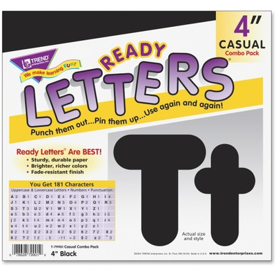 """Trend Black 4"""" Casual Combo Ready Letters Set TEPT79901"""