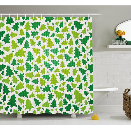 Christmas Shower Curtain, Simplistic Fir Pine Tree Silhouettes with Checkered Pattern, Fabric Bathroom Set with Hooks, Fern Green Apple Green White, by Ambesonne