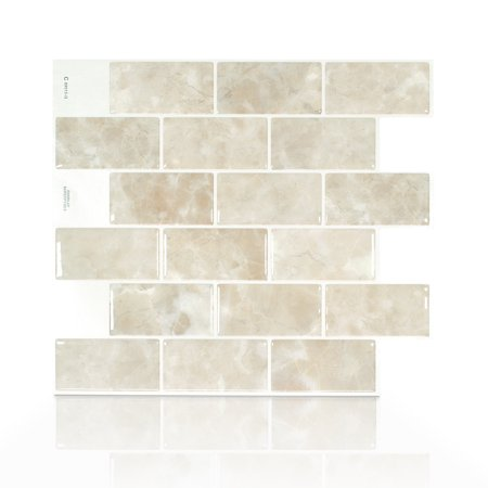 Smart Tiles 10.95 in x 9.70 in Peel and Stick Self-Adhesive Mosaic Backsplash Wall Tile - Subway Sora -