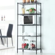 5-Shelf Shelving Unit Multifunction Changeable Assembly Floor Standing Carbon Steel Storage Rack for Kitchen Bathroom Bedroom - Black