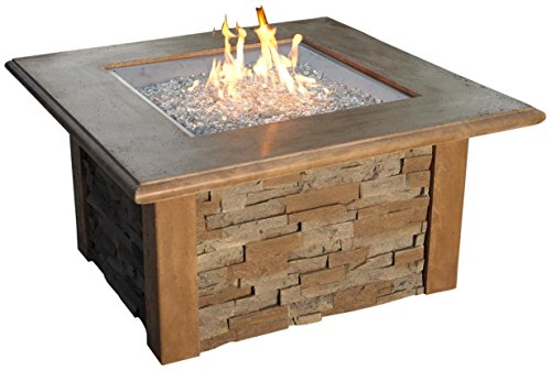 The Outdoor GreatRoom Company Sierra Firepit with Super Cast Top in Mocha with Square Burner by