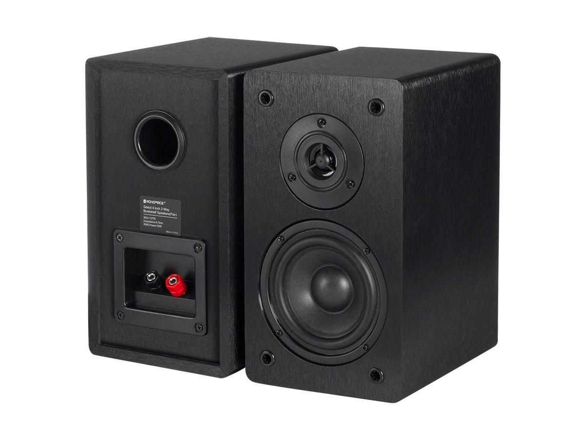 Monoprice Select 4 Inch 2 Way Bookshelf Speakers Pair Black Finish