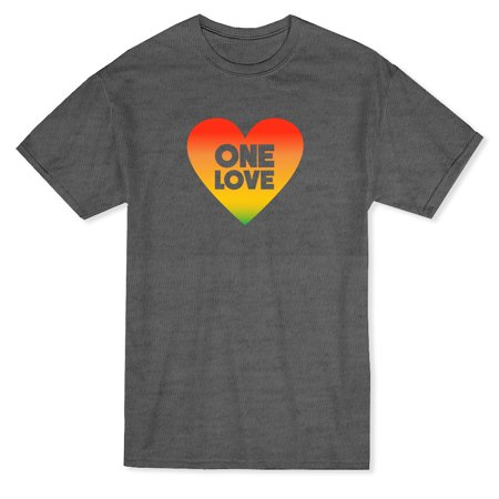 """One Love"" Quote Inside Rastafari Heart Graphic Men's Heather Navy T-shirt - image 1 de 1"