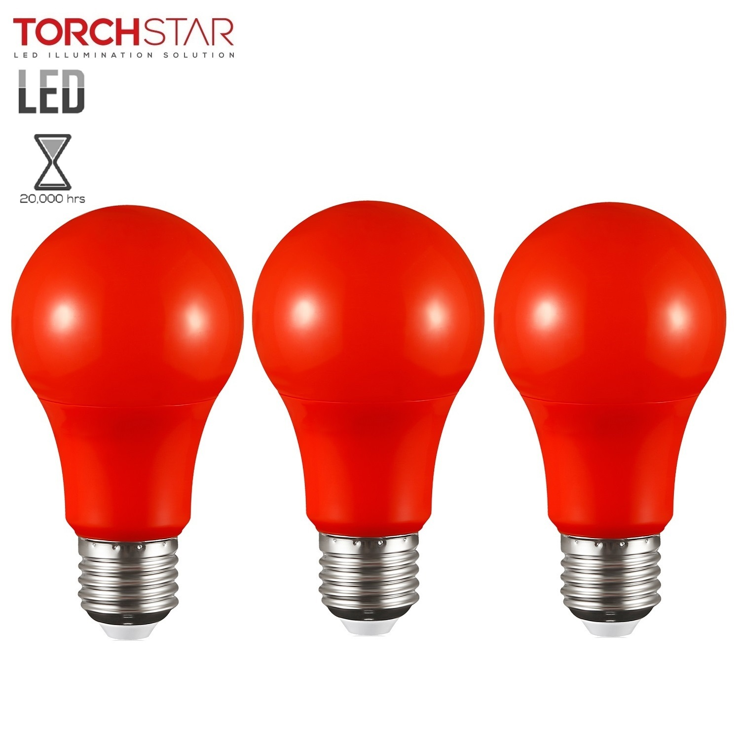 TORCHSTAR Pack of 3, Red LED A19 Colored Light Bulb, E26 Medium Base, Dwelling Environment & Melatonin Friendly, 7W (50W Equiv.), 3 Years Warranty, 20,000hrs, Non-Dimmable