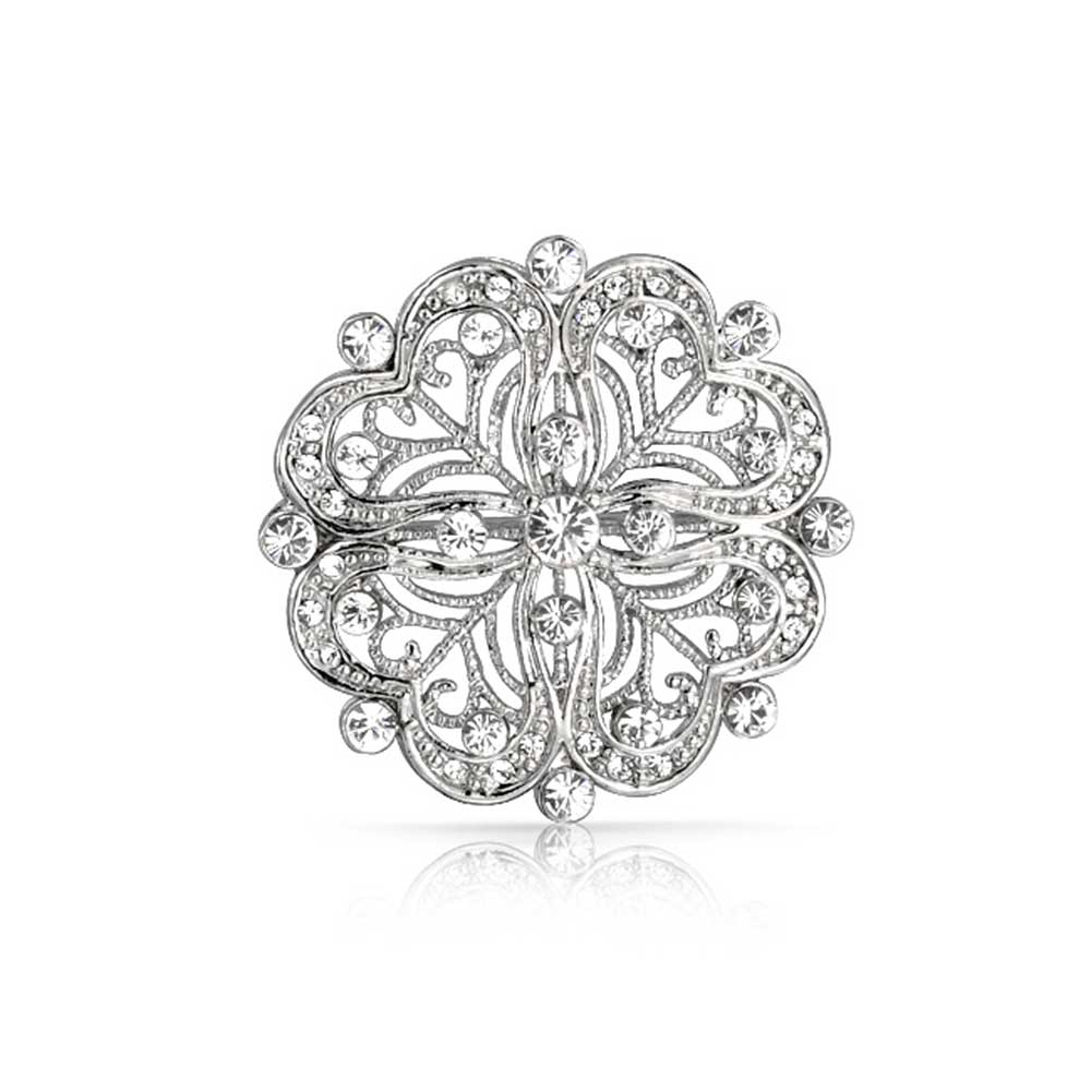 Bling Jewelry Vintage Style Cubic Zirconia Flower Pin Heart Brooch Rhodium Plated by Bling Jewelry