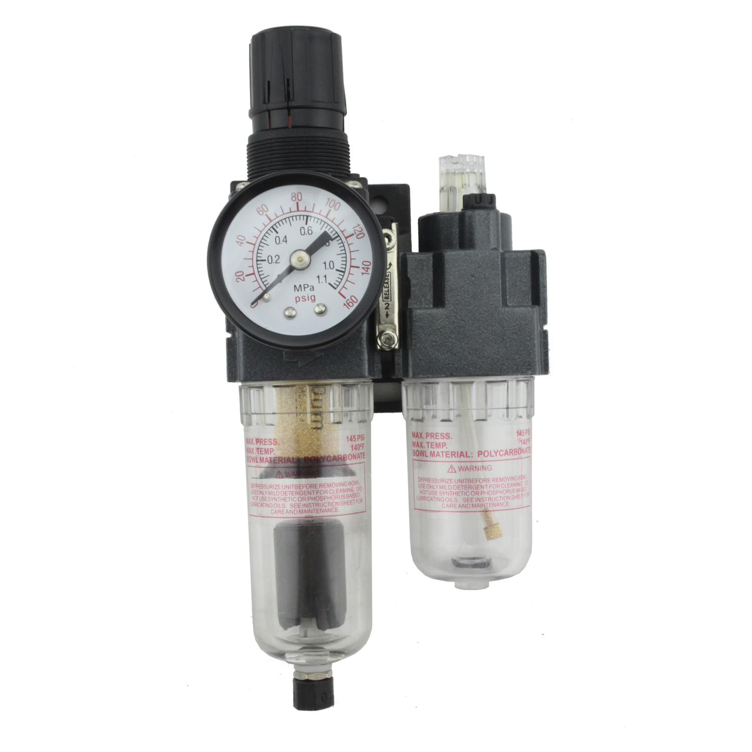 "EXELAIR™ by Milton FRL (Mini/Piggyback) Air Filter & Regulator w/Lubricator - 1/4"" NPT - Polycarbonate Bowl, Automatic Float (EX25PBL40A-02P)"
