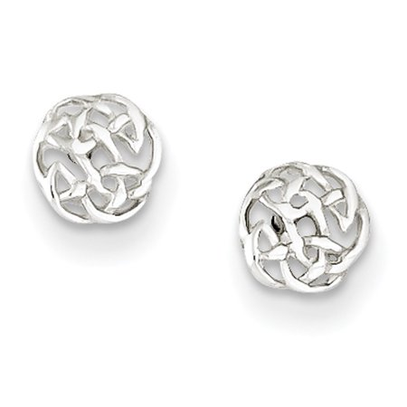 - 925 Sterling Silver Shiny Celtic Knot Stud Earrings