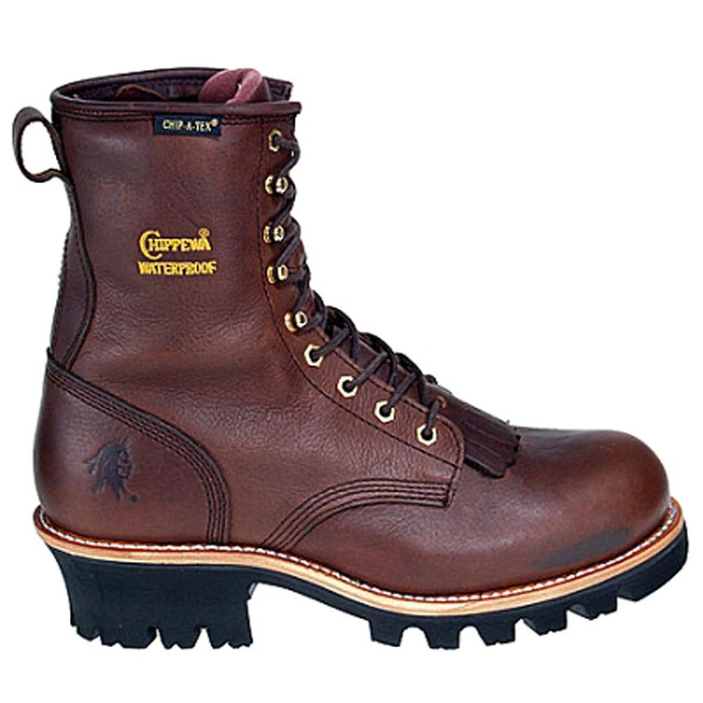 "Chippewa M 8"" Waterproof Logger Men  Round Toe Leather Brown Work Boot"