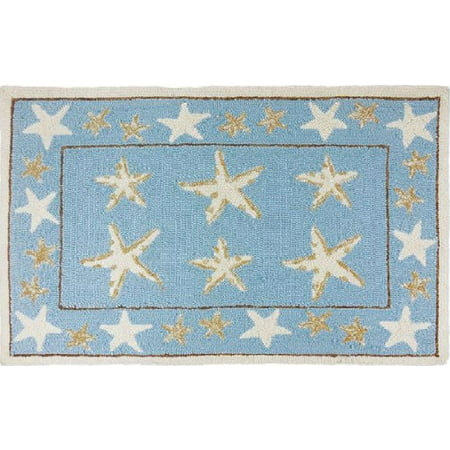 "22"" x 34"" Blue and Beige Starfish Scatter Indoor Throw Rug ()"