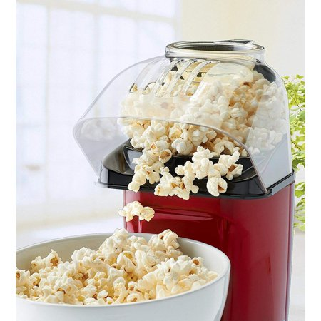 J-JATI Air Pop Popcorn Maker, Makes 12 Cups of Popcorn, Includes Measuring Cup and Removable Lid, Dishwasher-Safe - RJ33-T-Red ()