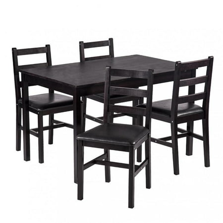 Dining Table Set Pine Wood Kitchen Dining Room Table Dinette Table with 4 Chairs