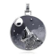 Howling Coyote at the Moon Totem Animal Speak Sterling Silver Slide Art Pendant
