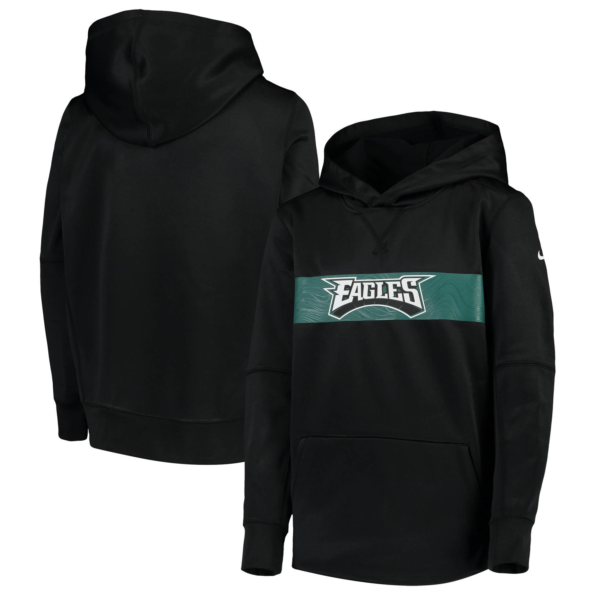 Philadelphia Eagles Nike Youth Team Performance Pullover Hoodie - Black