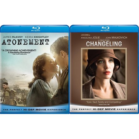 Changeling & Atonement Blu Ray 2 Pack Love & Drama Thriller Movie - Movie Gift Sets