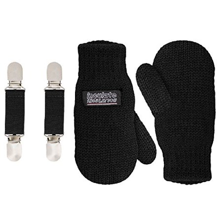 SANREMO Unisex Kids Toddler Knitted Fleece Lined Warm Winter Mittens and Mitten Clips Set (4-7 Years, Black)