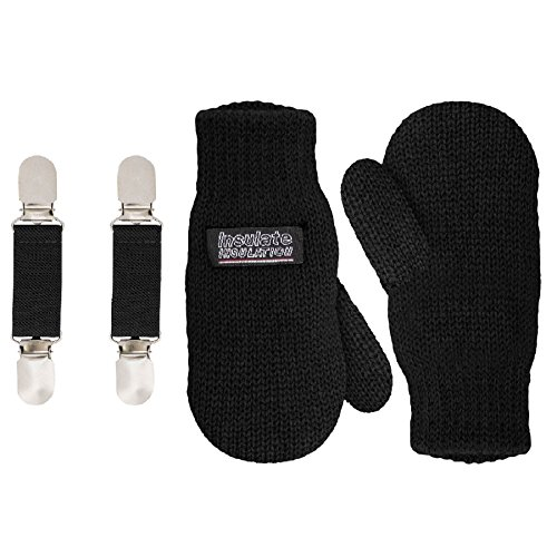 SANREMO Unisex Kids Toddler Knitted Fleece Lined Warm Winter Mittens and Mitten Clips Set (1-3 Years, Black)