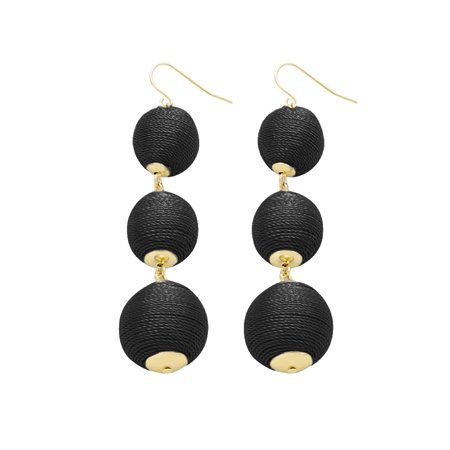 Women's Triple Thread Lantern Ball Dangle Fashion Earrings - Black
