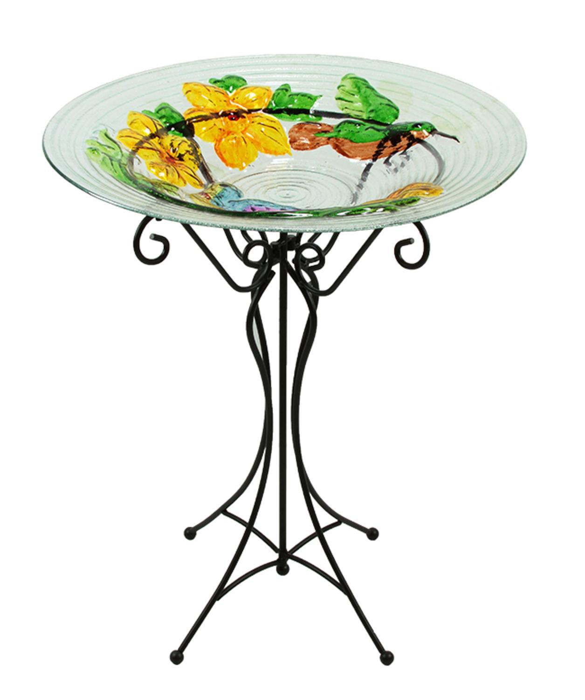 "22.5"" Hand Painted Glass Vibrant Hummingbird & Flowers Outdoor Garden Birdbath by CC Outdoor Living"