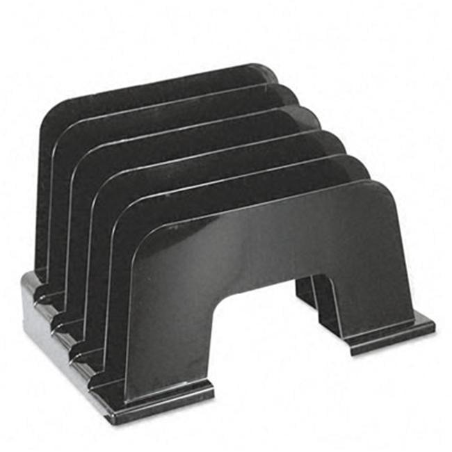 Large Incline Sorter- 5 Sections- Plastic- 13 1/4w x 9d x 9h- Black