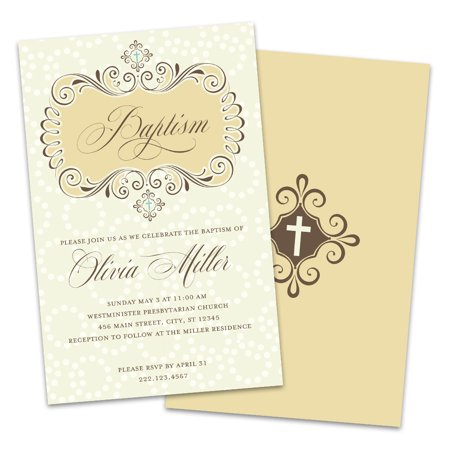 Personalized Victorian Style Baptism Invitations - 50's Style Invitations