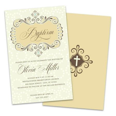 Personalized Victorian Style Baptism Invitations Border Baptism Christening Invitations