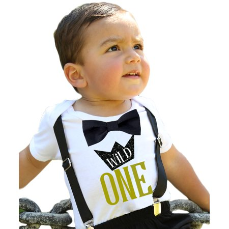 Wild One Boys First Birthday Shirt Outfit Boy with Black Bow Tie Black Suspenders and  Gold  Saying Cake Smash 1st Birthday Party Noah's Boytique Noah's Boytique12-18 Months
